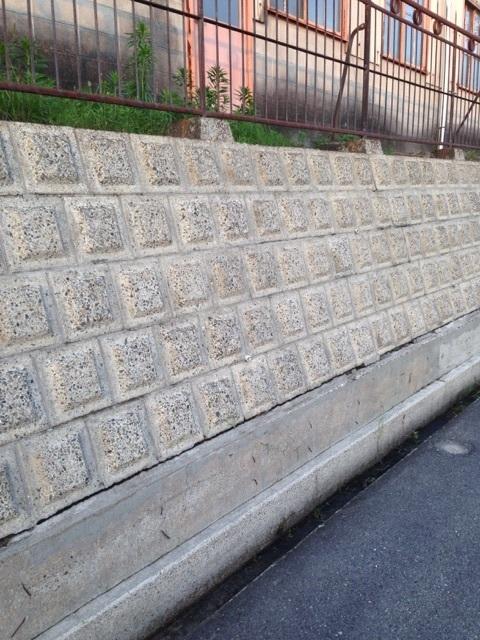 ブロック塀 洗浄後