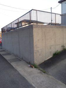 コンクリート塀 洗浄後